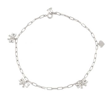 Anklet with bows pendant with crystals - Bond