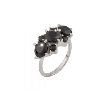 Anello Jolie in argento con pietre nere grandi