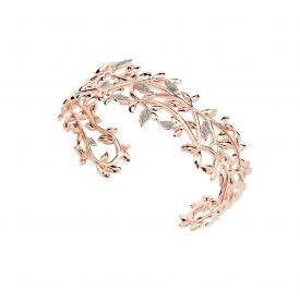 Bracciale Jolie rigido in argento con foglie di ulivo rivestite in polvere di diamanti